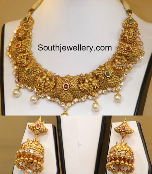 peacock_necklace_and_jhumkas_set