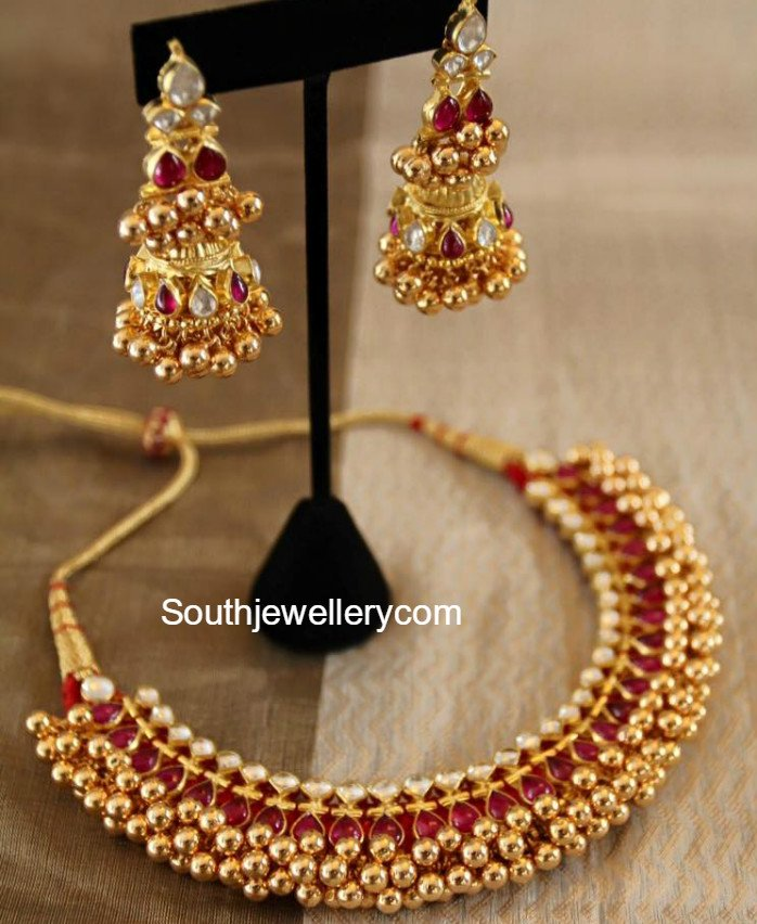 Antique Gold Tussi Necklace Set - Jewellery Designs