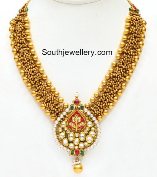 antique-gold-gajjalu-necklace-kundan-pendant
