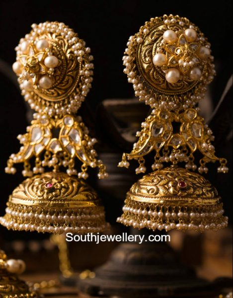 antique-gold-polki-jhumkas