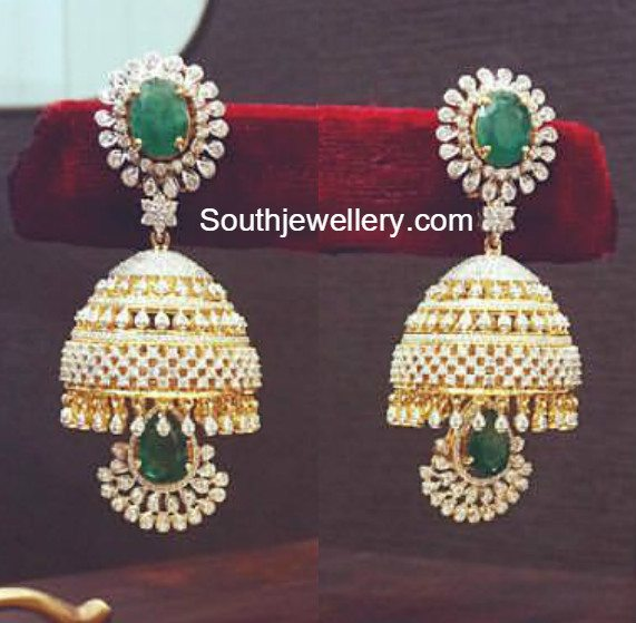Diamond Emerald Jhumkas