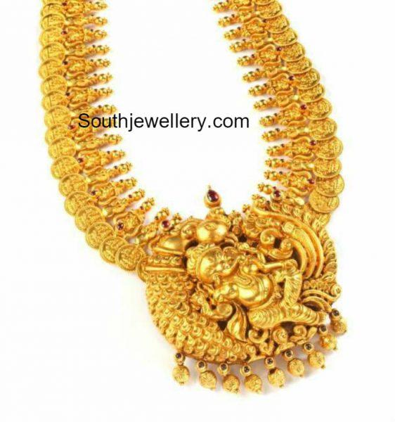 plain-gold-lakshmi-kasu-haram-ganesh-pendant