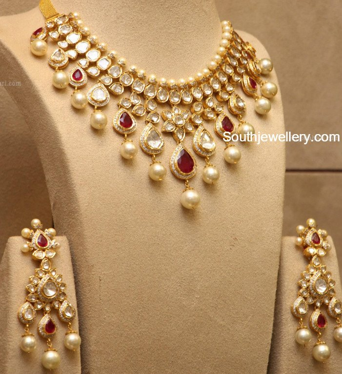 New Necklace Earring Set Gold Polki Jewellery Indian: Uncut Diamond Necklace Latest Jewelry Designs