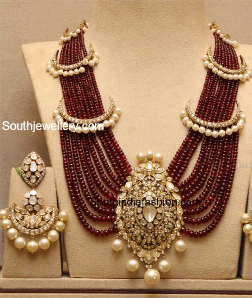 Ruby Beads Haram with Polki Pendant and Earrings