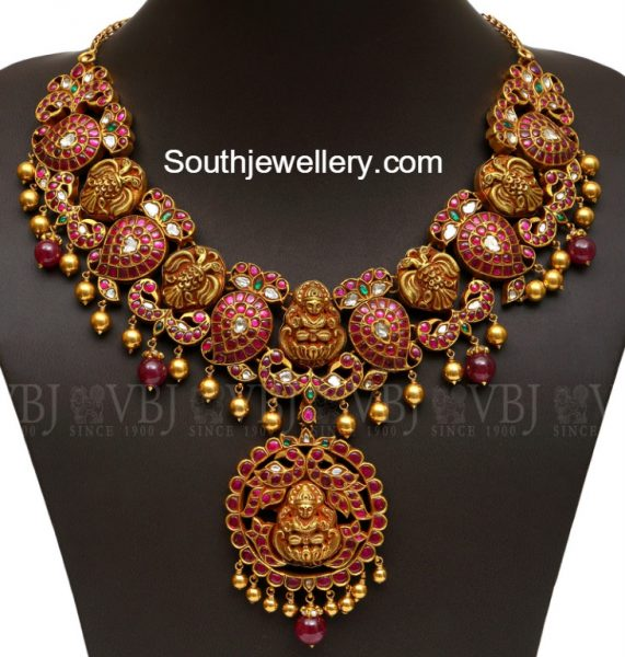 Mango Peacock Antique Ruby Necklace