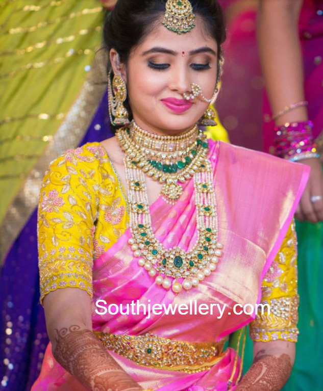 bride in polki diamond jewellery jewellery designs