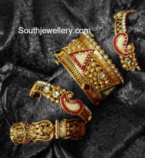 Antique Gold Broad Bangles