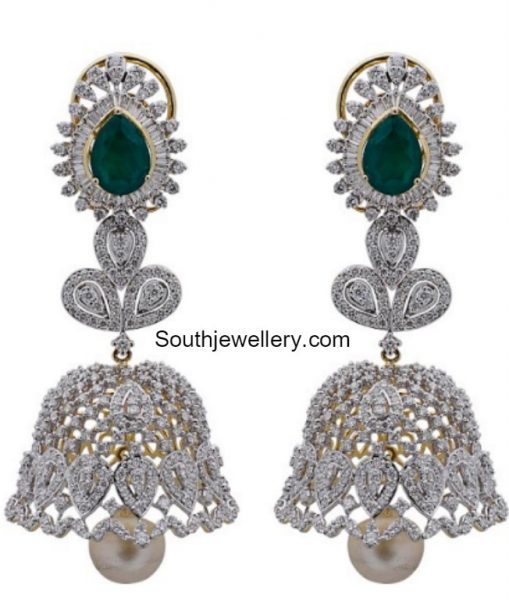 diamond-emerald-jhumkas