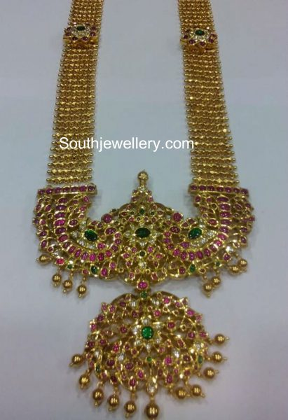 Antique Gold Haram with Peacock Kundan Pendant