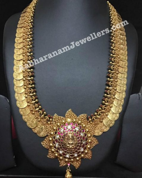 Antique Gold Kasulaperu Haram with Kundan Pendant