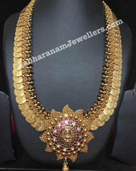 Antique Gold Kasulaperu Haram with Kundan Pendant