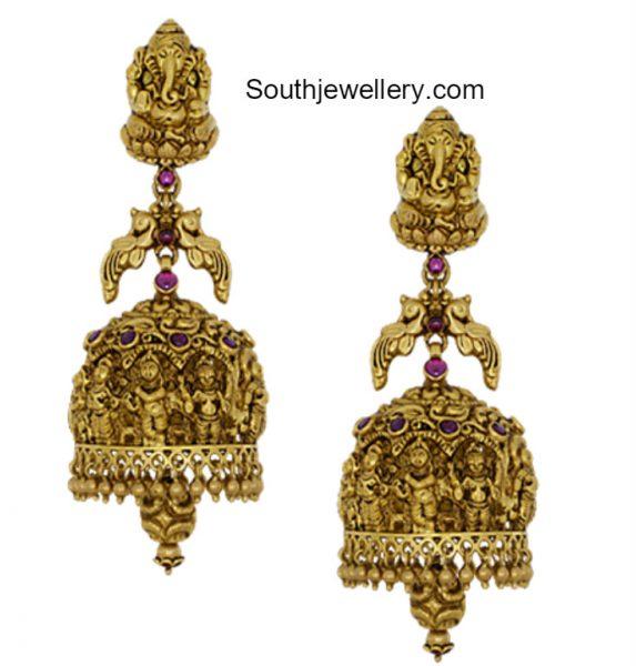 Gold Nakshi Jhumkas