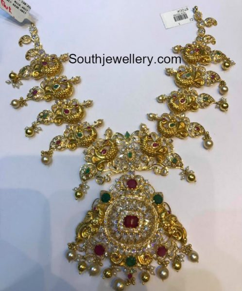 Antique Gold Peacock Pacchi Necklace
