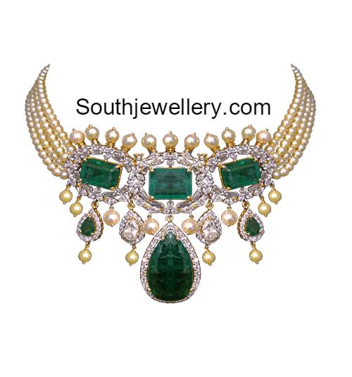 Pearls Choker with Diamond Emerald Pendant