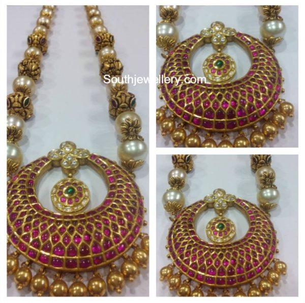 South Sea Pearl and Nakshi Balls Mala with Kundan Pendant