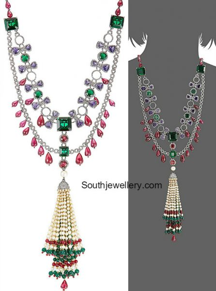 Gold Plated Multi Color Necklace by Tarun Tahiliani