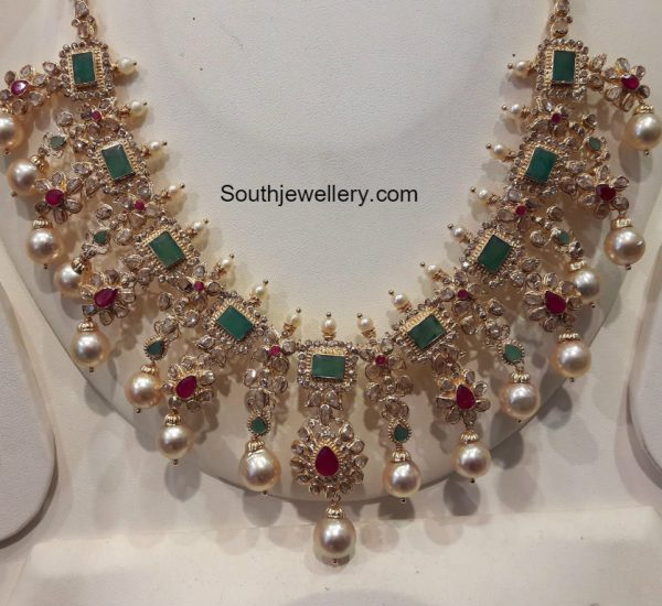 Uncut Diamond Necklace and Earrings