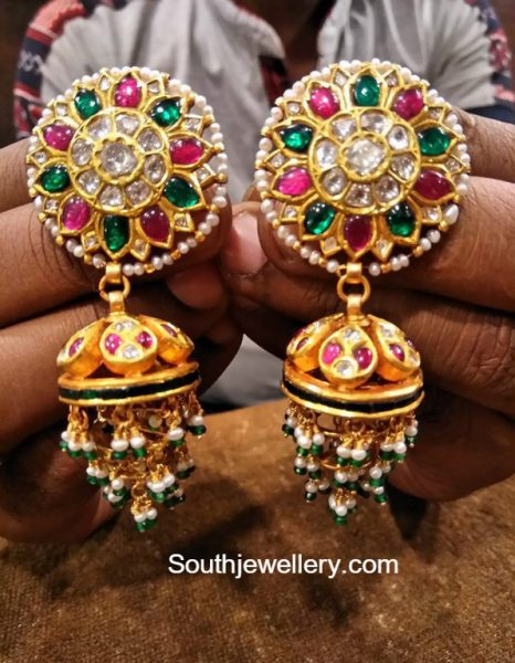 Antique Gold Kundan Jhumkas