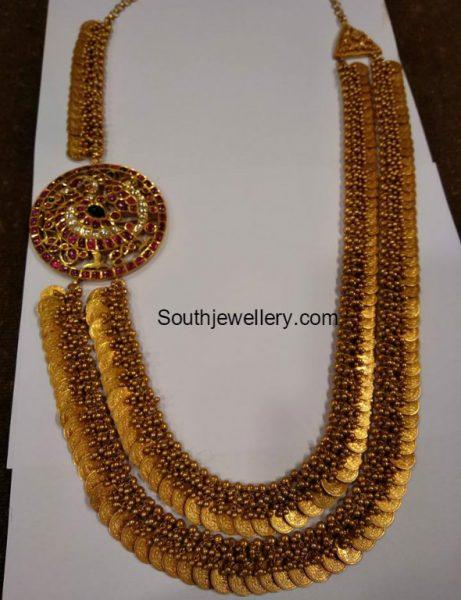 Double Row Antique Gold Lakshmi Kasu Haram