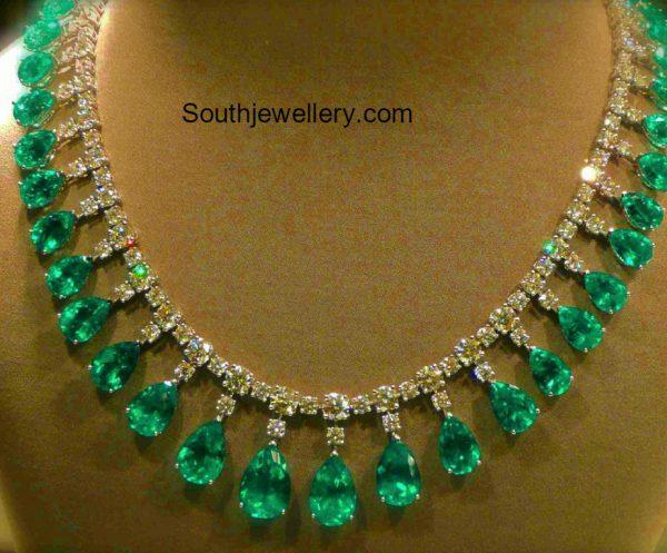 Simple Diamond Emerald Necklace