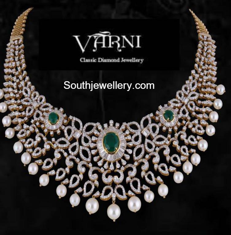 84ea796d92494b Diamond Emerald Necklace - Jewellery Designs