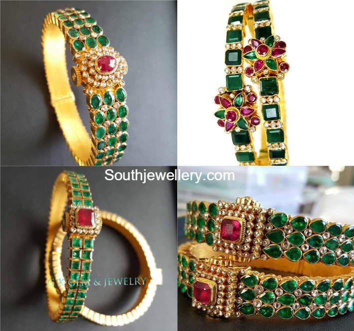 set emerald diamond category choker bangle jewelry jhumkas bangles jewellery latest designs