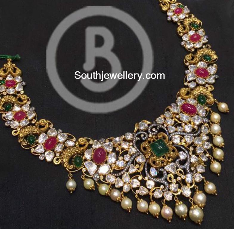 Peacock Polki Diamond Necklace Jewellery Designs