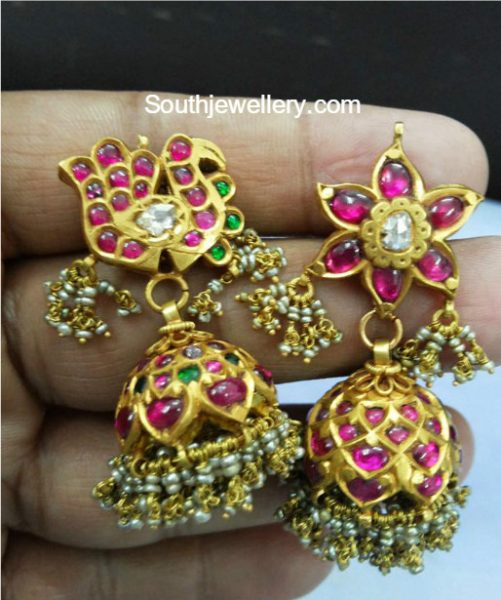 Antique Gold Kundan Jhumki Designs