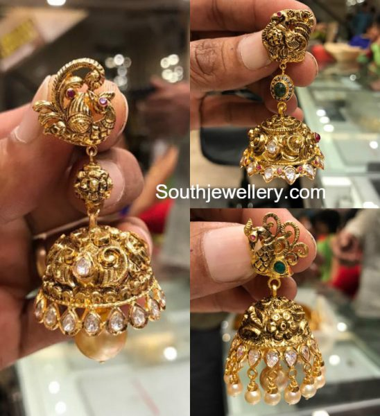 Nakshi Peacock Gold Jhumkas