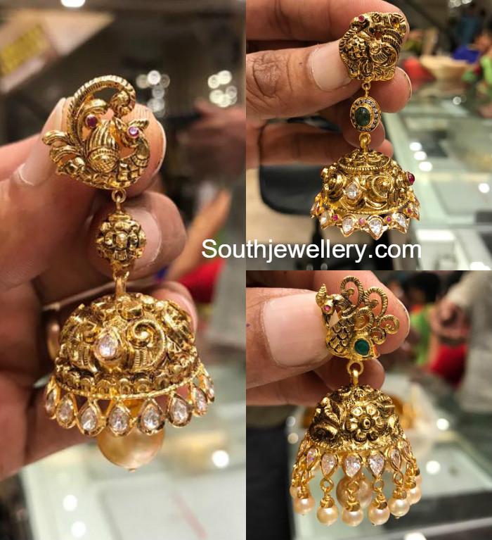 Nakshi Peacock Gold Jhumkas - Jewellery Designs