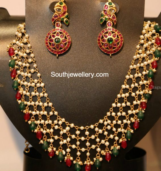 pearl-necklace-kundan-earrings