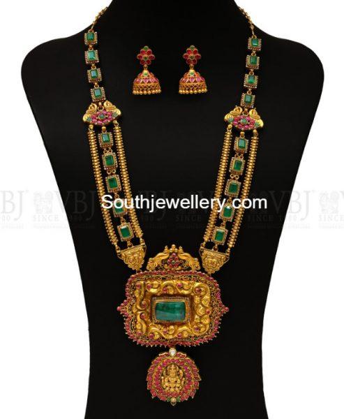 Ruby Emerald Haram with Nakshi Pendant