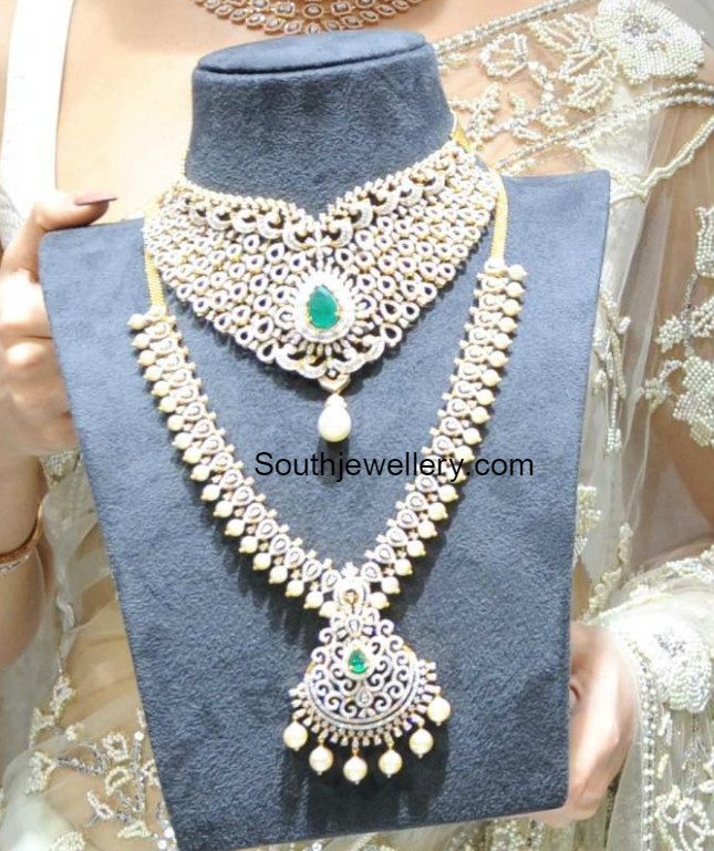 Bridal Diamond Necklace And Haram Set: Diamond Necklace And Haram Set