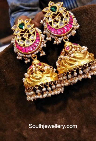 Antique Gold Kundan Jhumkas