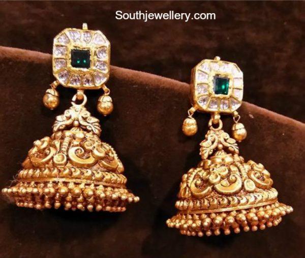 Gold Nakshi Jhumkis
