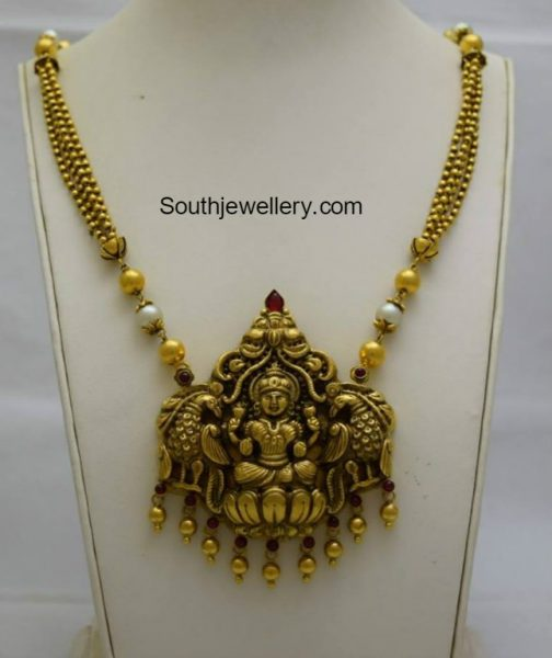 Antique Gold Necklace with Lakshmi Pendant