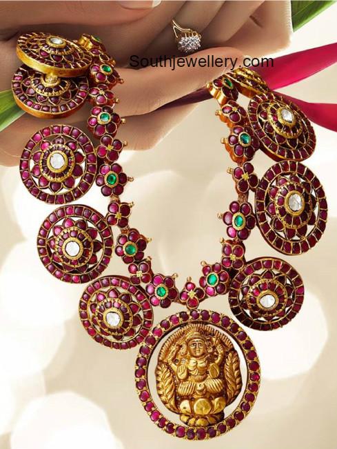 Kundan Haram With Lakshmi Pendant Jewellery Designs