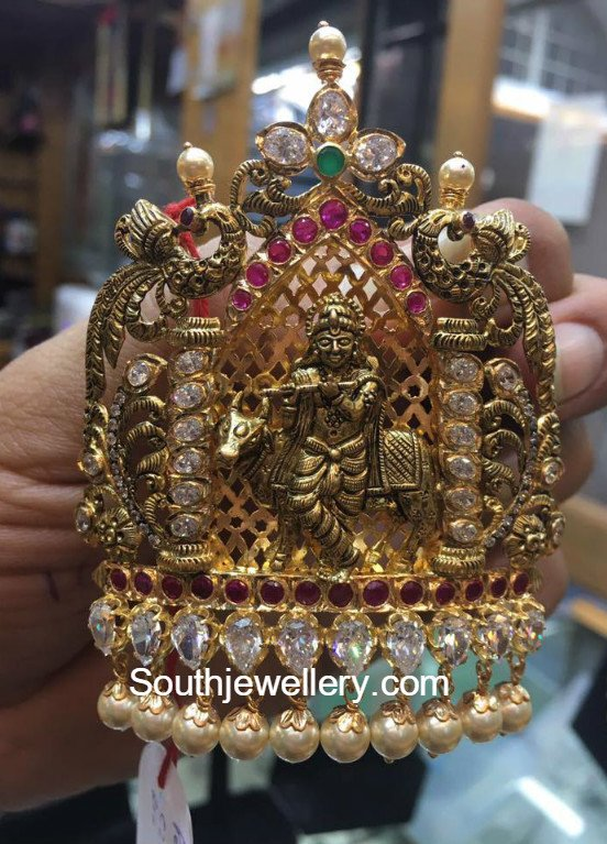 Antique Gold Lord Krishna Pendant Jewellery Designs