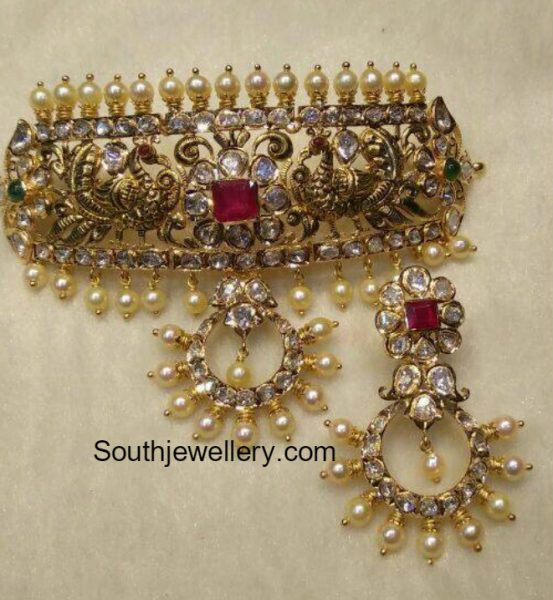 Antique Gold Peacock Choker and Chandbalis