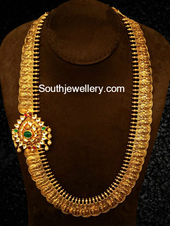 Antique Gold Kasu Haram Jewellery Designs