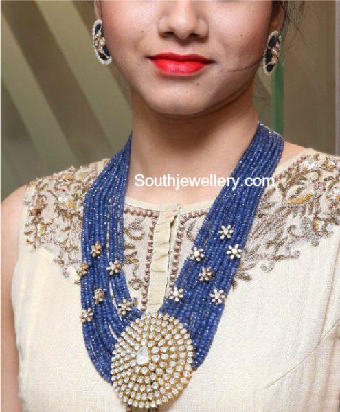 Sapphire Beads Mala with Flat Diamond Pendant