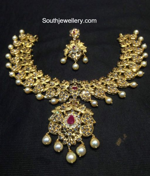 Uncut Diamond Peacock Mango Necklace