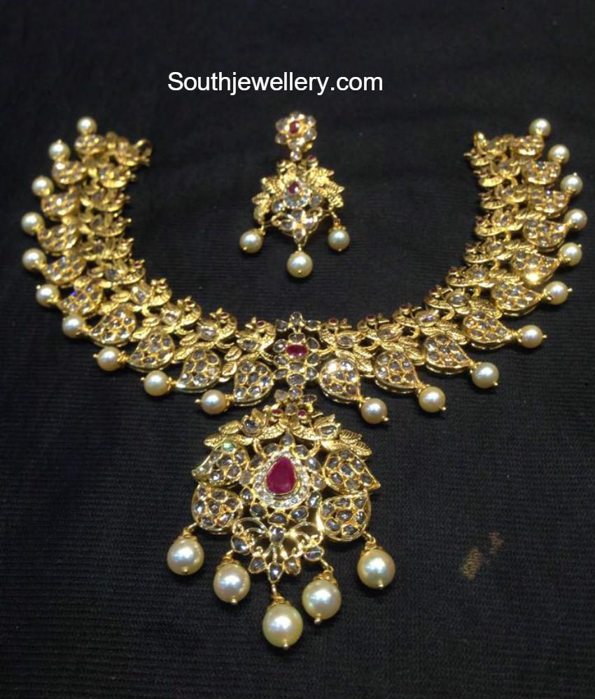 uncut diamond peacock mango necklace jewellery designs