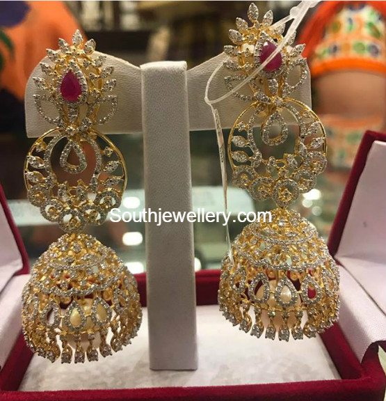 50 Grams Diamond Ruby Long Jhumkas