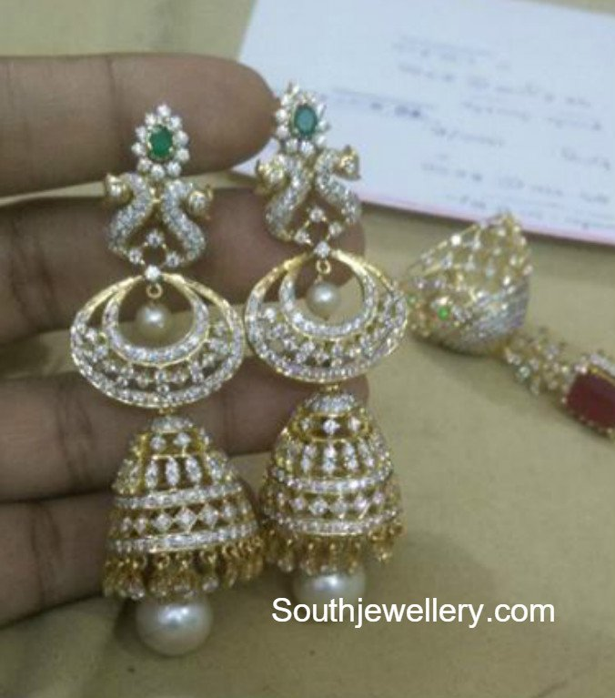 jhumkas jewellery diamond designs peacock jhumka