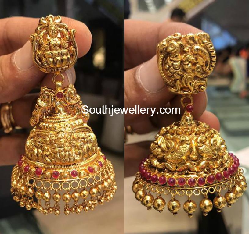Antique Gold Jhumkas - Jewellery Designs