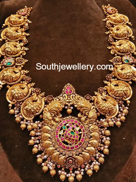 Antique Gold Peacock Haram Jewellery Designs