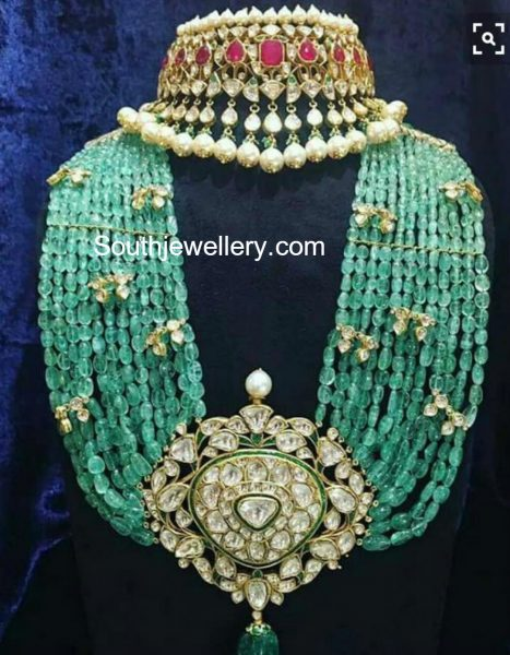 Polki Diamond Choker and Emerald Beads Mala