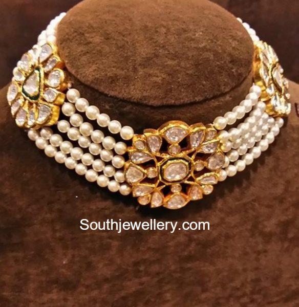 Elegant South Sea Pearls and Polki Diamond Choker