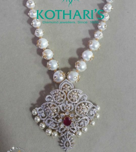 South Sea Pearls Mala with Diamond Pendant
